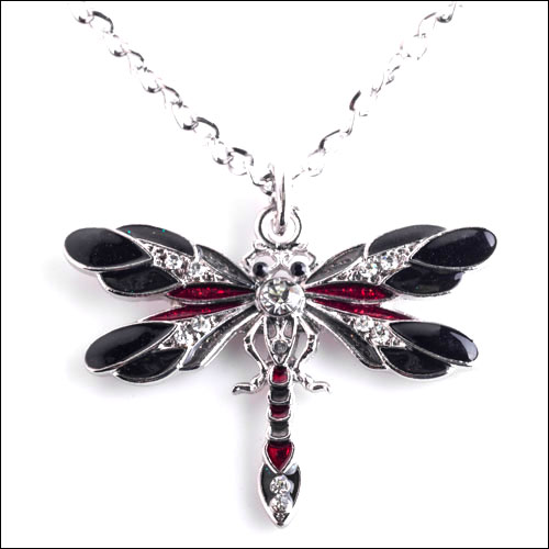 Austrian Crystal Dragonfly Necklace, Black, Red  & Silver