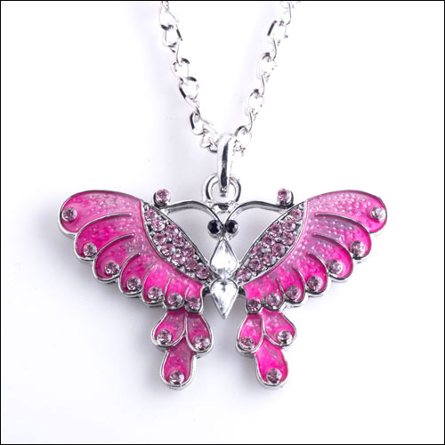 Austrian Crystal Butterfly Necklace, Pink & Silver