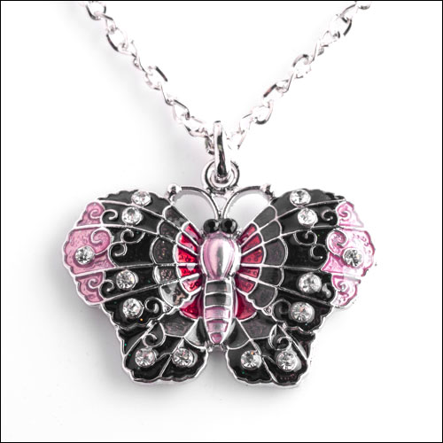 Austrian Crystal Butterfly Necklace, Black, Pink, Red & Silver