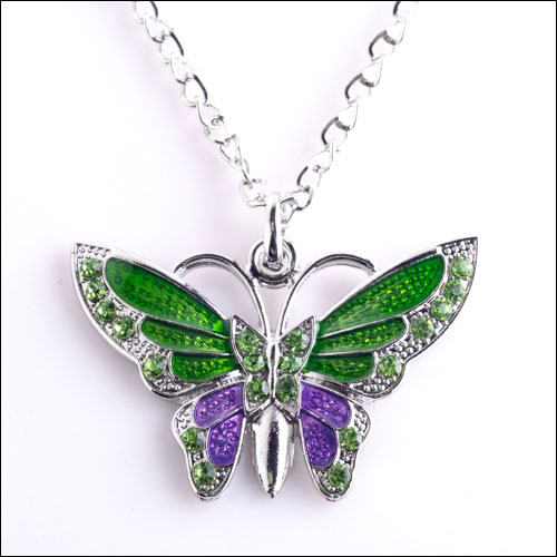Austrian Crystal Butterfly Necklace, Green, Purple & Silver