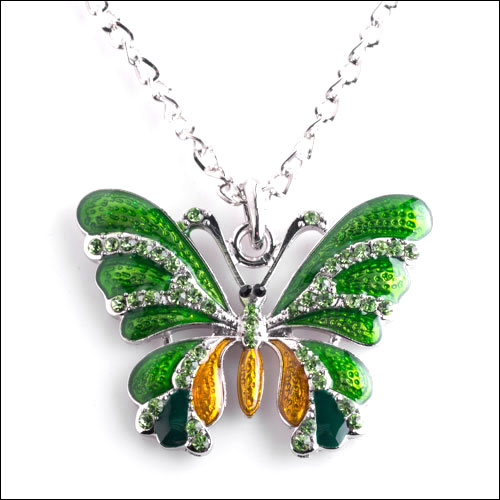 Austrian Crystal Butterfly Necklace, Green, Golden & Silver