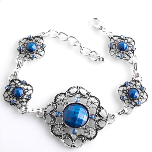 Antique Silver & Blue Cabochon and Crystals Bracelet