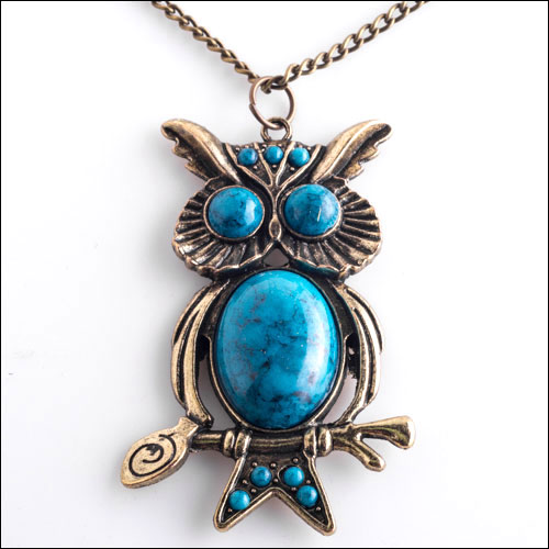 Gold and Turquoise Owl Necklace