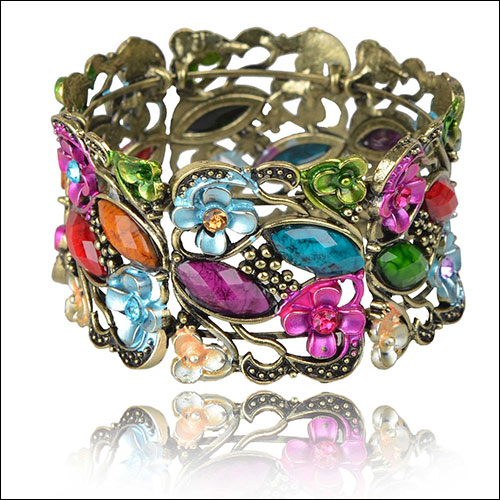 Antique Gold & Colorful, Flowers-Cabs-Rhinestones Cuff Bangle
