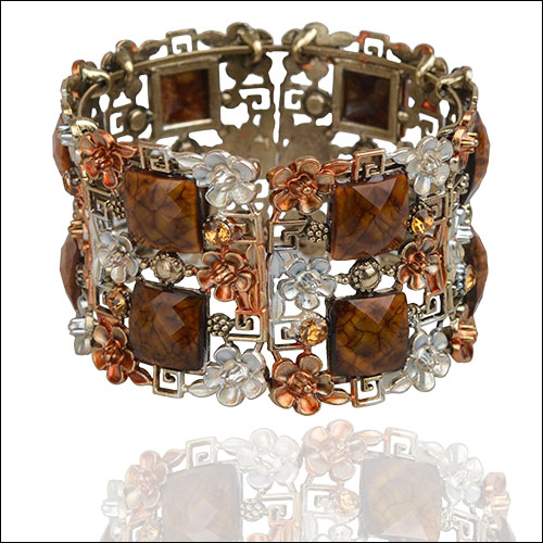 Antique Gold & Copper-Rust, Flowers-Cabs-Rhinestones Cuff Bangle