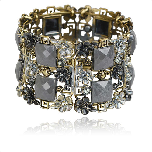Antique Gold & Gray, Flowers-Cabs-Rhinestones Cuff Bangle