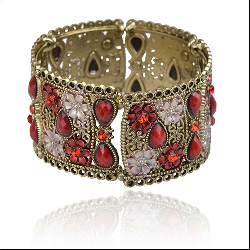 Antique Gold & Red-Pink, Flowers-Cabs-Rhinestones Cuff Bangle