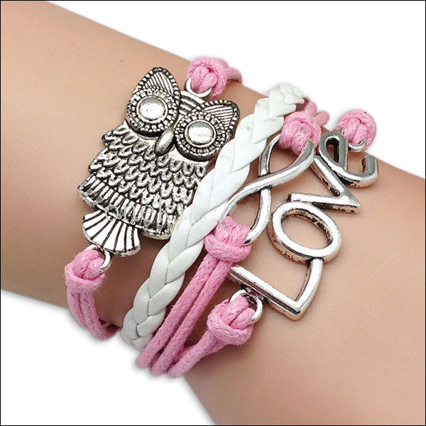 Leather Charm Bracelet; Pink & White, Love, Owl & Infinity charm