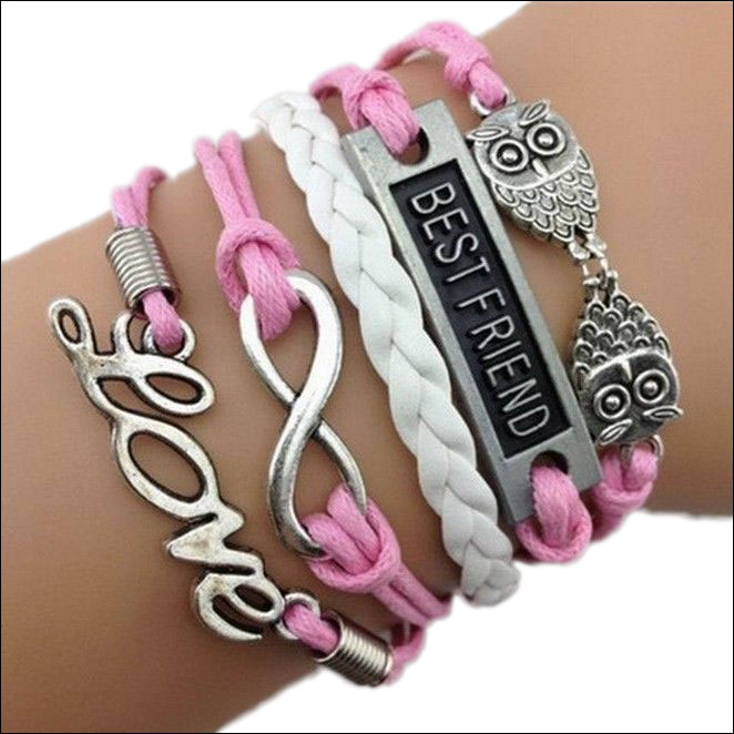 Leather Charm Bracelet; Pink & White, Best Friends, Owls, Love &