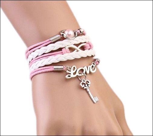 Leather Charm Bracelet; Pink & White, Love with Key, Heart & Inf
