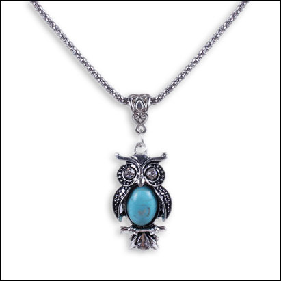 Turquoise & Antique Silver Owl Necklace