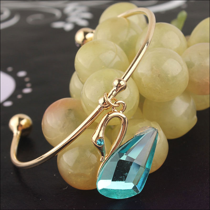 14K Gold Filled Aqua Crystal Swan Bangle