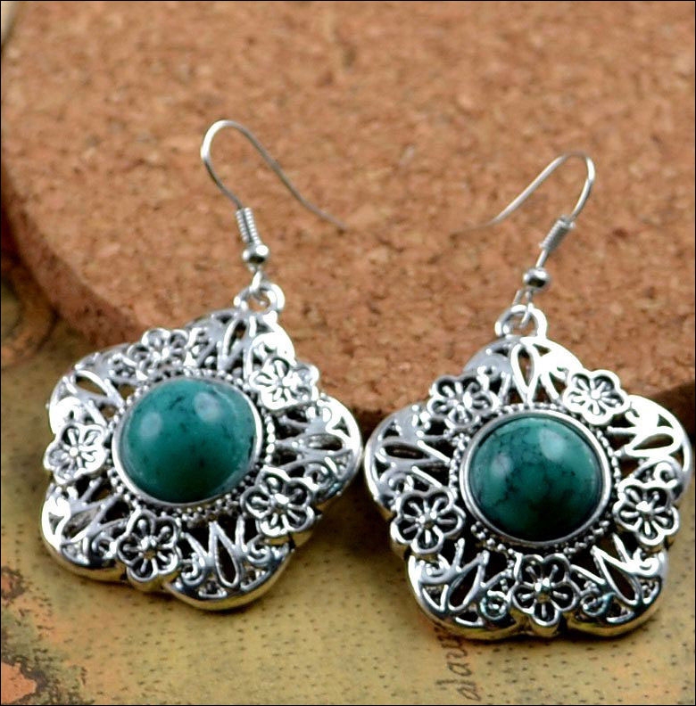 Turquoise and Silver Hook Earrings