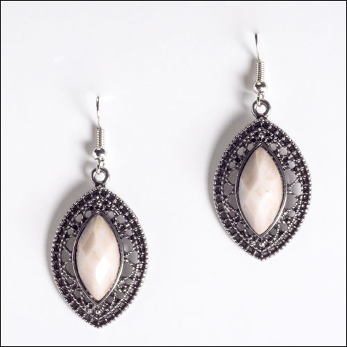 Beige and Antique Silver Hook Earrings