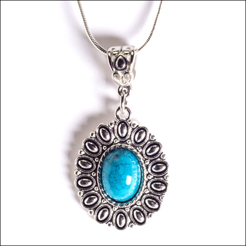 Blue & Silver Cabochon Pendant Necklace