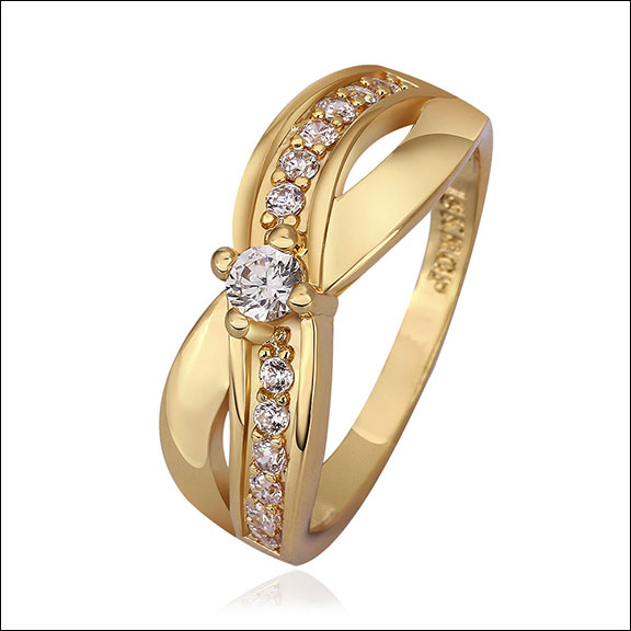 Diamoniques 18K Gold Plated Ring, Size 8