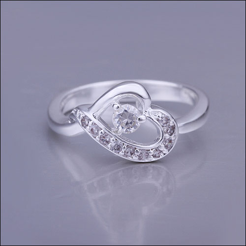 White Sapphire Silver Heart Ring, Size 7