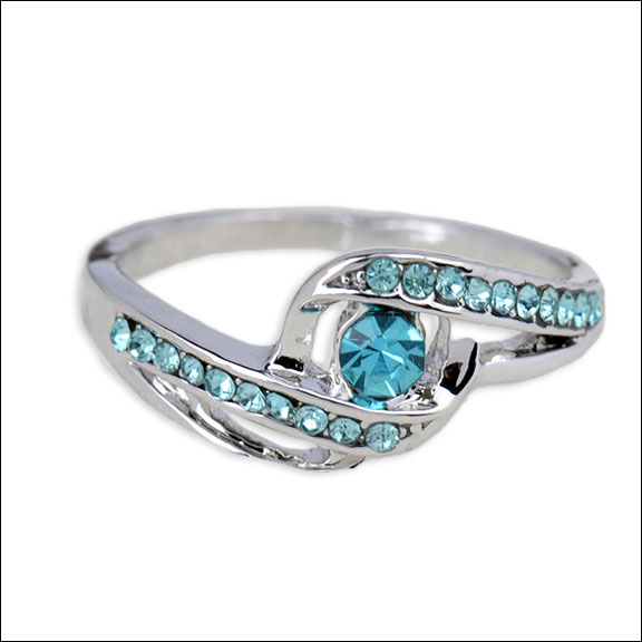 Aquamarine Crystals in Silver Ring, Size 9