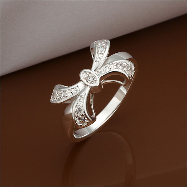 Silver Bow Ring, Size 8