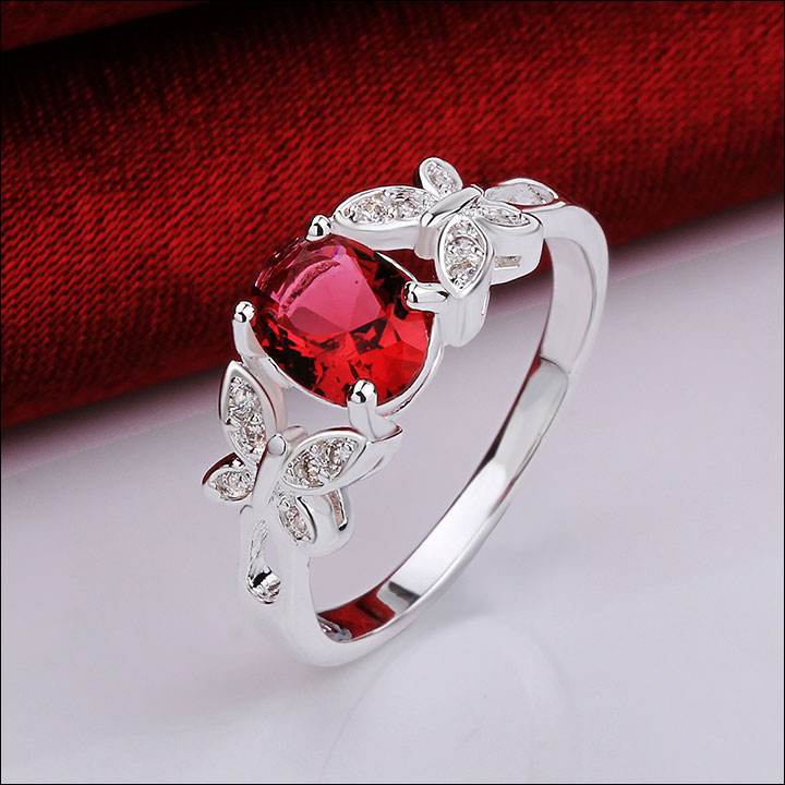 Red Oval Crystal with Butterflies in Silver Ring Size 7.5