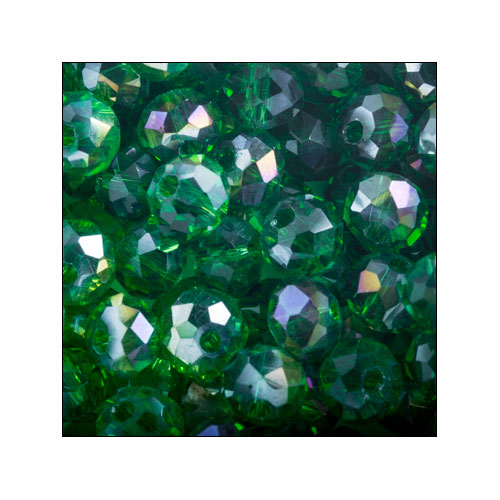 Crystal Rondelle, 4 x 6mm Green AB (50)