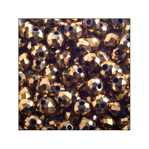 Crystal Rondelle, 3 x 4mm Antique Gold (100)