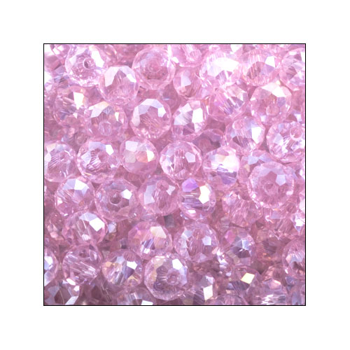 Crystal Rondelle, 3 x 4mm Pink AB (100)