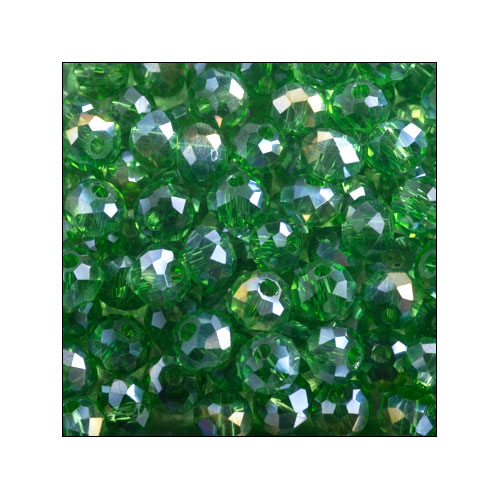 Crystal Rondelle, 3 x 4mm Green AB (100)