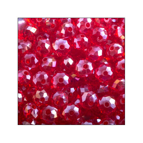 Crystal Rondelle, 3 x 4mm Red AB (100)