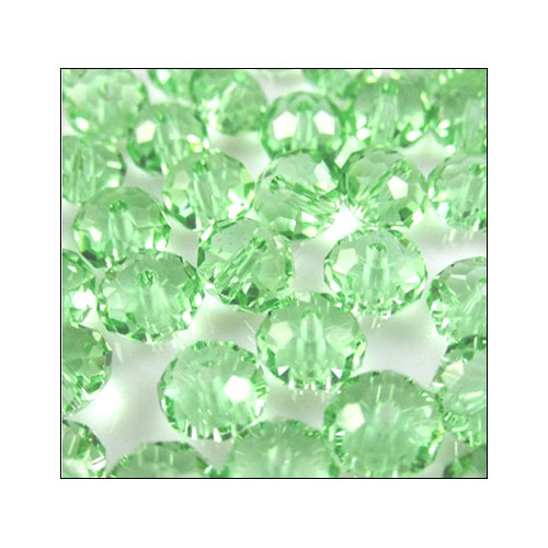 Crystal Rondelle, 4 x 6mm Light Mint Green (50)