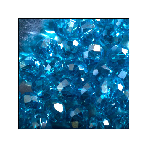 Crystal Rondelle, 4 x 6mm Capri Blue AB (50)