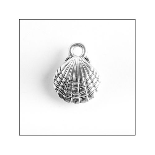 Clam Shell Silver Charm (no bail)