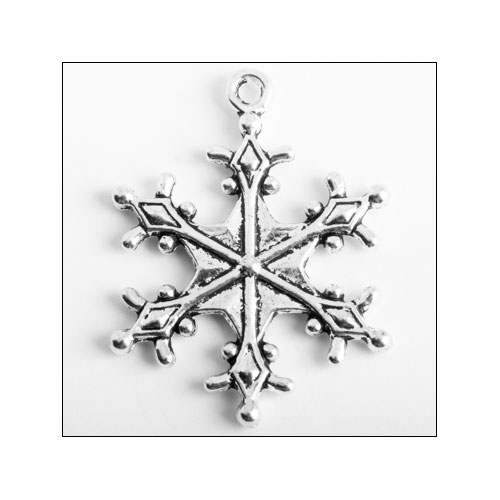 Snowflake 28.5 x 22mm Silver Charm (no bail)