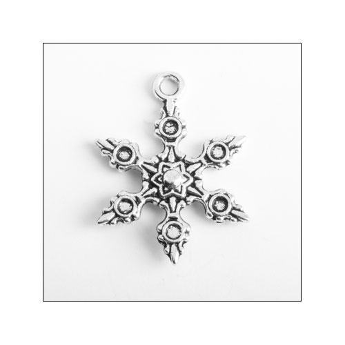 Snowflake 23 x 18mm Silver Charm (no bail)