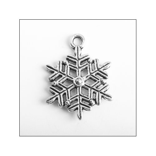 Snowflake 22.5 x 17mm Silver Charm (no bail)