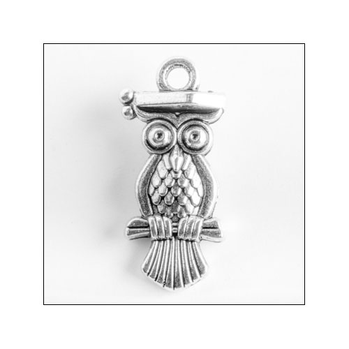 Graduation Owl Silver Charm (no bail)