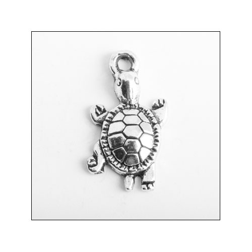 Turtle Round Silver Charm (no bail)