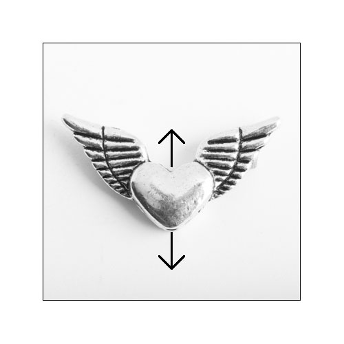 Winged Heart Silver Charm (no bail)