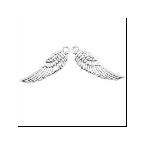 Angel Wing Small Silver Charms (2) (no bail)