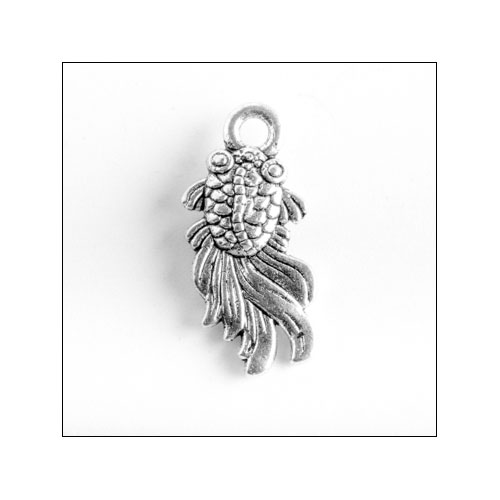 Fancy Goldfish Small Silver Charm (no bail)