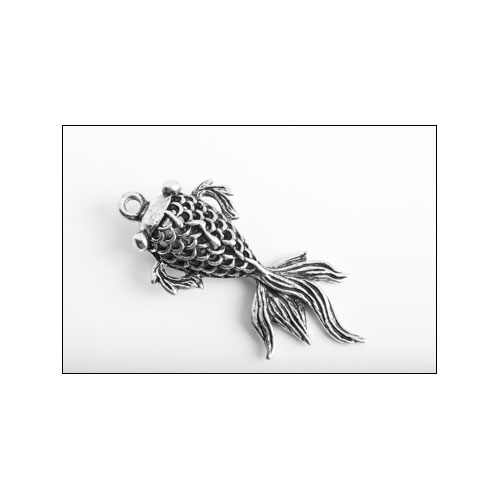 Fancy Goldfish Large Silver Charm (no bail)