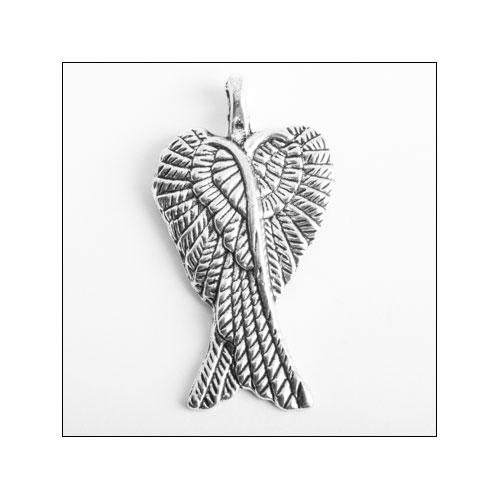 Crossed Angel Wings Silver Charm (no bail)