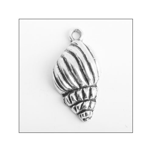 Conch Sea Shell Silver Charm (no bail)