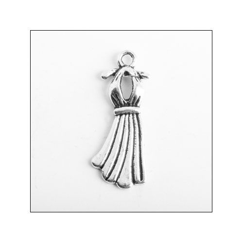 Summer Dress Silver Charm (no bail)
