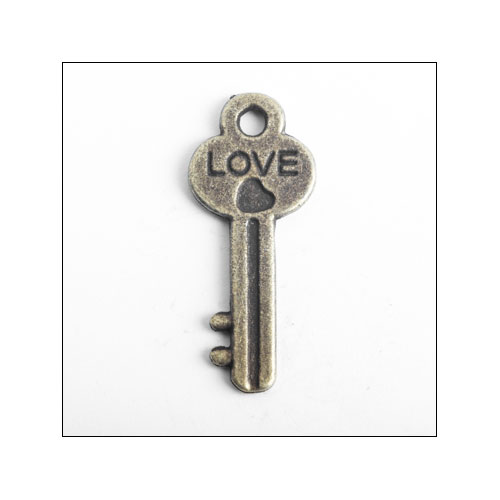 Key LOVE Bronze Charm (no bail)