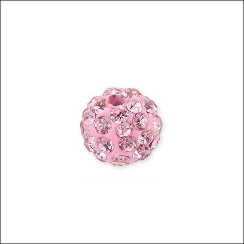 Crystal Pave Rhinestone Beads (10), 10mm, Pink