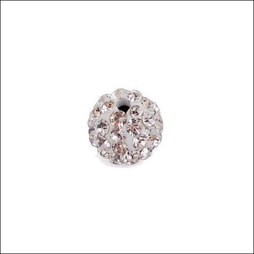 Crystal Pave Rhinestone Beads (10), 10mm, White