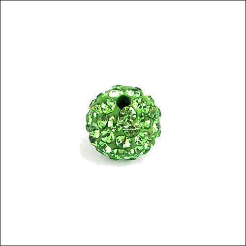 Crystal Pave Rhinestone Beads (10), 10mm, Light Green