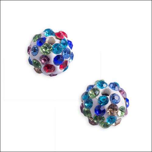 Crystal Pave Rhinestone Beads (10), 10mm, Multicolor