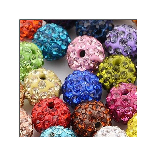 Crystal Pave Rhinestone Beads (10), 10mm, Assorted